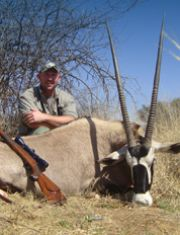 Petrie Auret with his prize gemsbok.